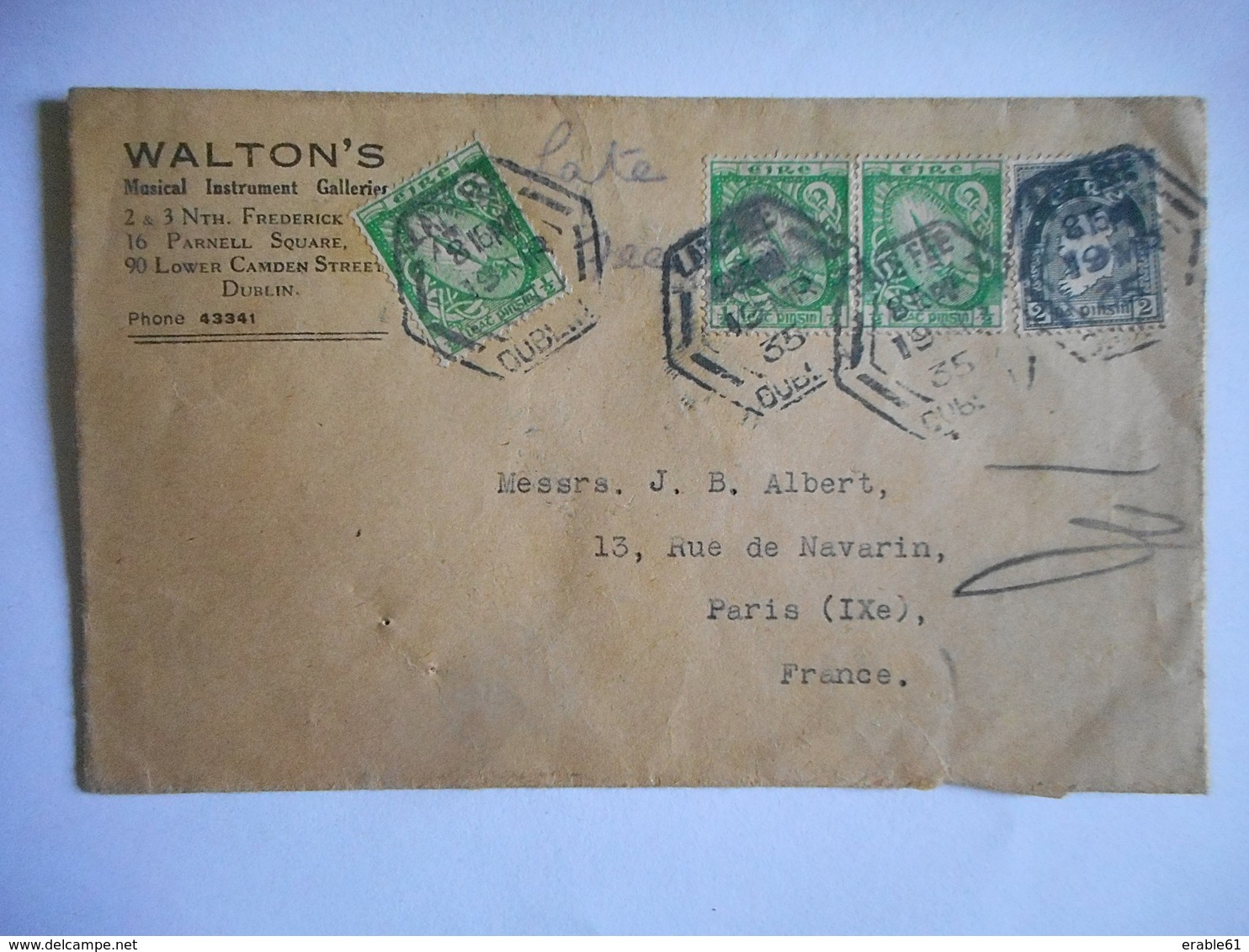 LSC 1935 DUBLIN Pour PARIS Timbre EIRE - Briefe U. Dokumente