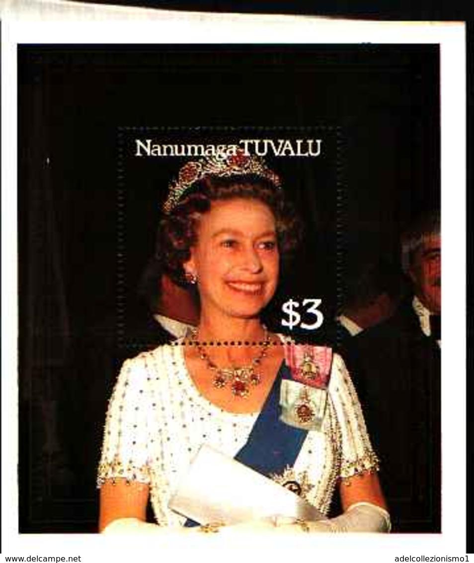 79211)   NANUMAGA-TUVALU- 3$ -- 40° ANN. MATRIMONIO DELLA  REGINA ELISABETTA II° IN FOGLIETTO-MNH** - Tuvalu