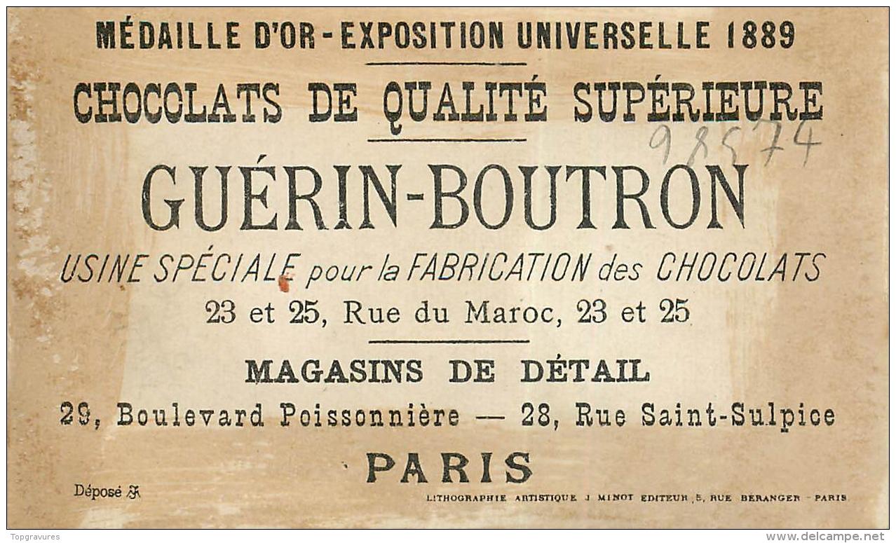 CHROMO CHOCOLAT GUERIN-BOUTRON EQUILIBRE D'UNE CUILLER A POT - TOM TIT PIERROT ET ARLEQUIN - Guérin-Boutron