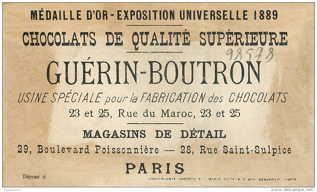 CHROMO CHOCOLAT GUERIN-BOUTRON L'OISEAU SUR LA BRANCHE - TOM TIT - Guérin-Boutron
