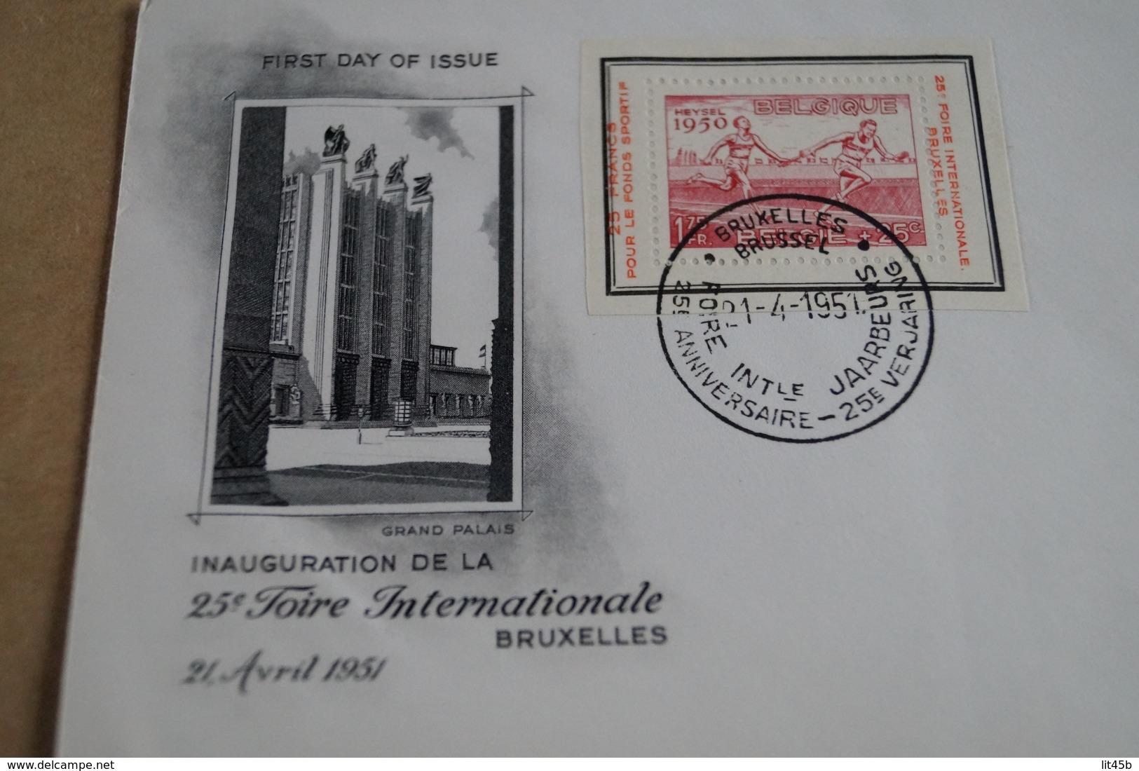 Heysel 1950,timbre Sur Enveloppe,25 Iem Foire Bruxelles 21/04/1951,pour Collection - FDC