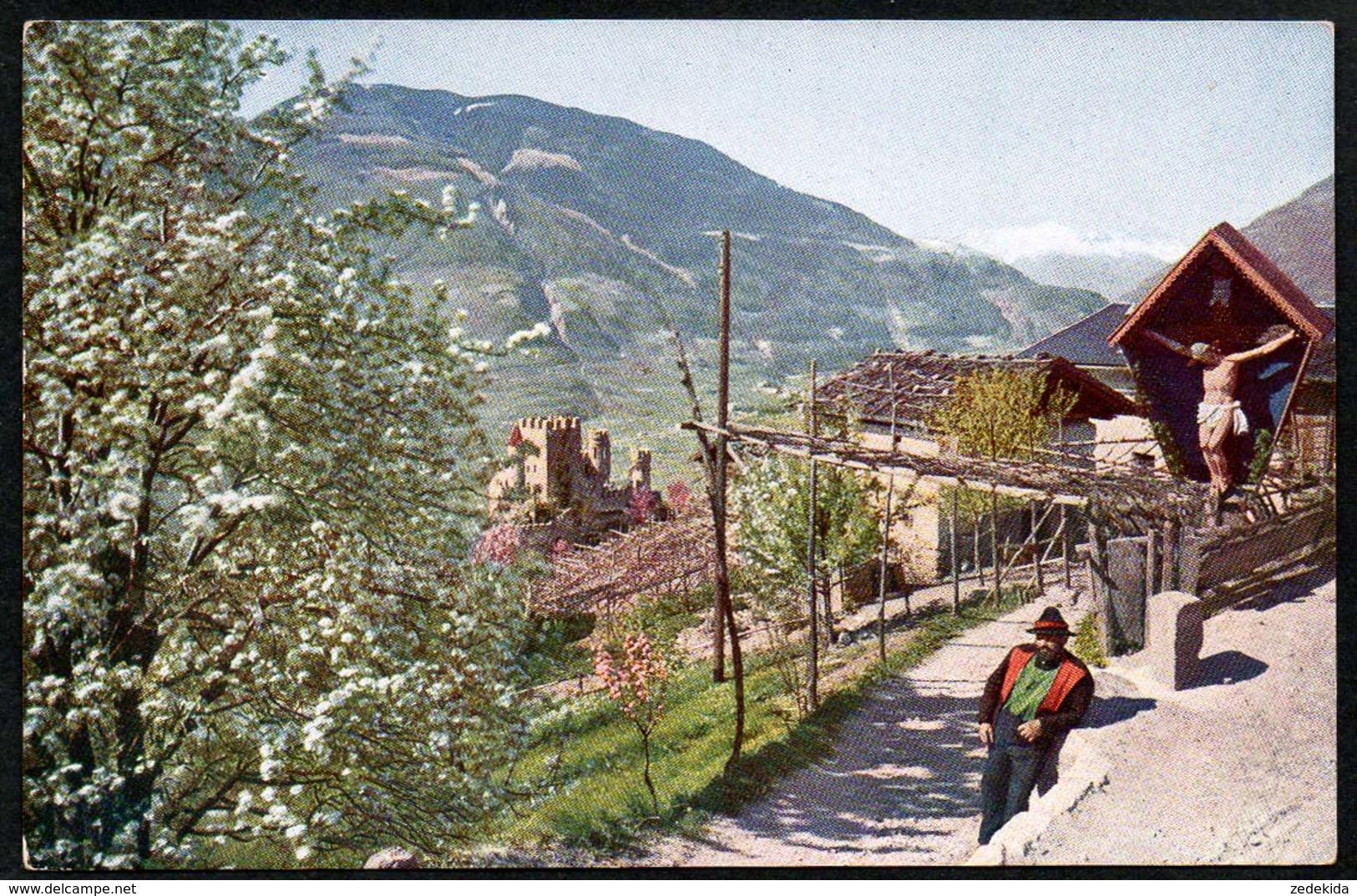 B4871 - Dorf Tirol Bei Meran - Brunnenburg Farbenfoto Hans Hildenbrand Stuttgart - Merano