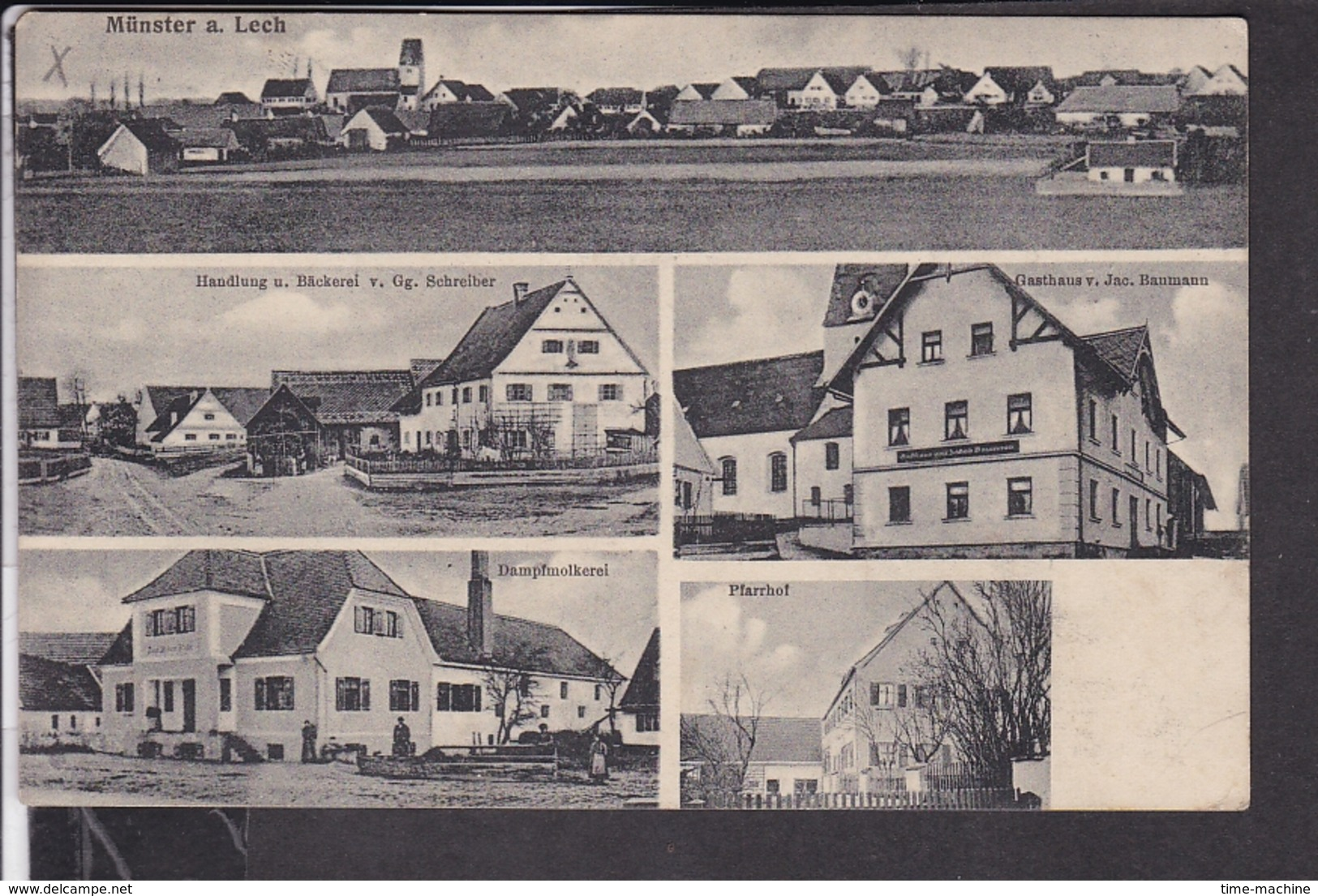 Münster Am Lech  , Bei Rain Am Lech  1920  U.a Gasthaus , Dampfmolkerei , Handlung/Bäckerei Schreiber 1920 - Other