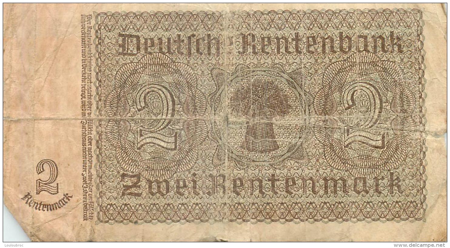 BILLET  DEUX RENTENMARK - [ 4] 1933-1945 : Terzo  Reich