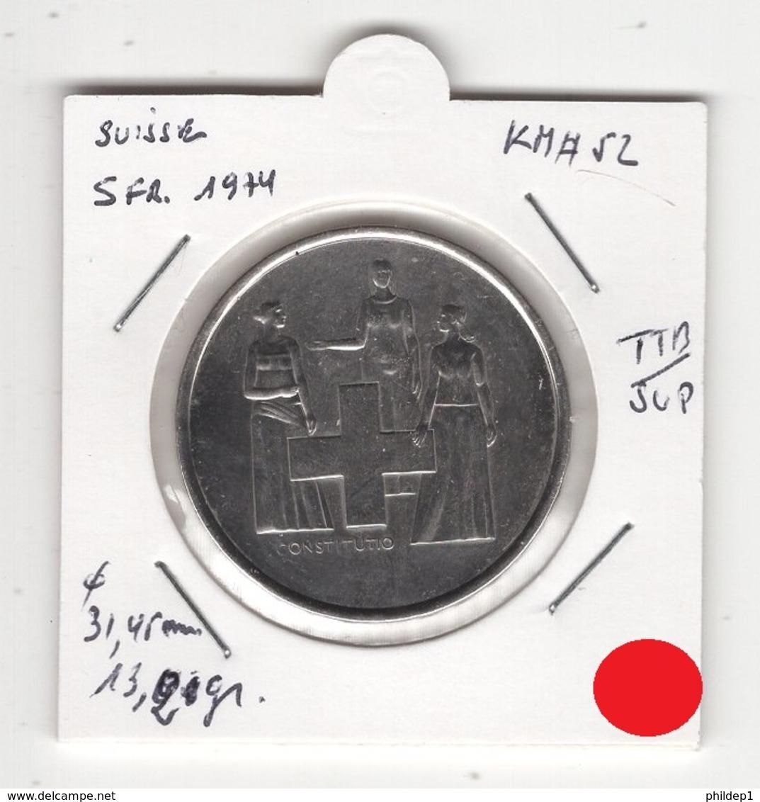 Suisse. 5 FS 1974. Pièce En Cu/Ni 13,20 Gr. Diam 31,45 Mm. TTB/SUP - Suisse