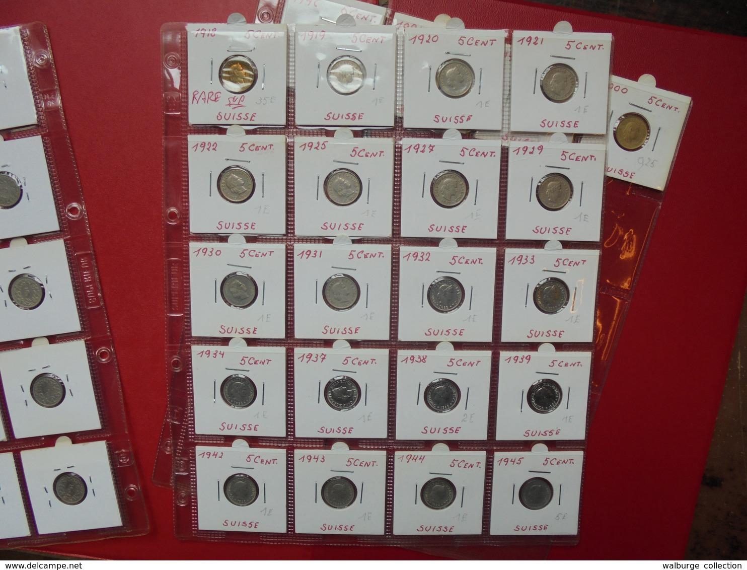 SUISSE 1880-2000 LOT DE 44 MONNAIES DATES DIFFERENTES DE 5 CENTS. - Monnaies & Billets