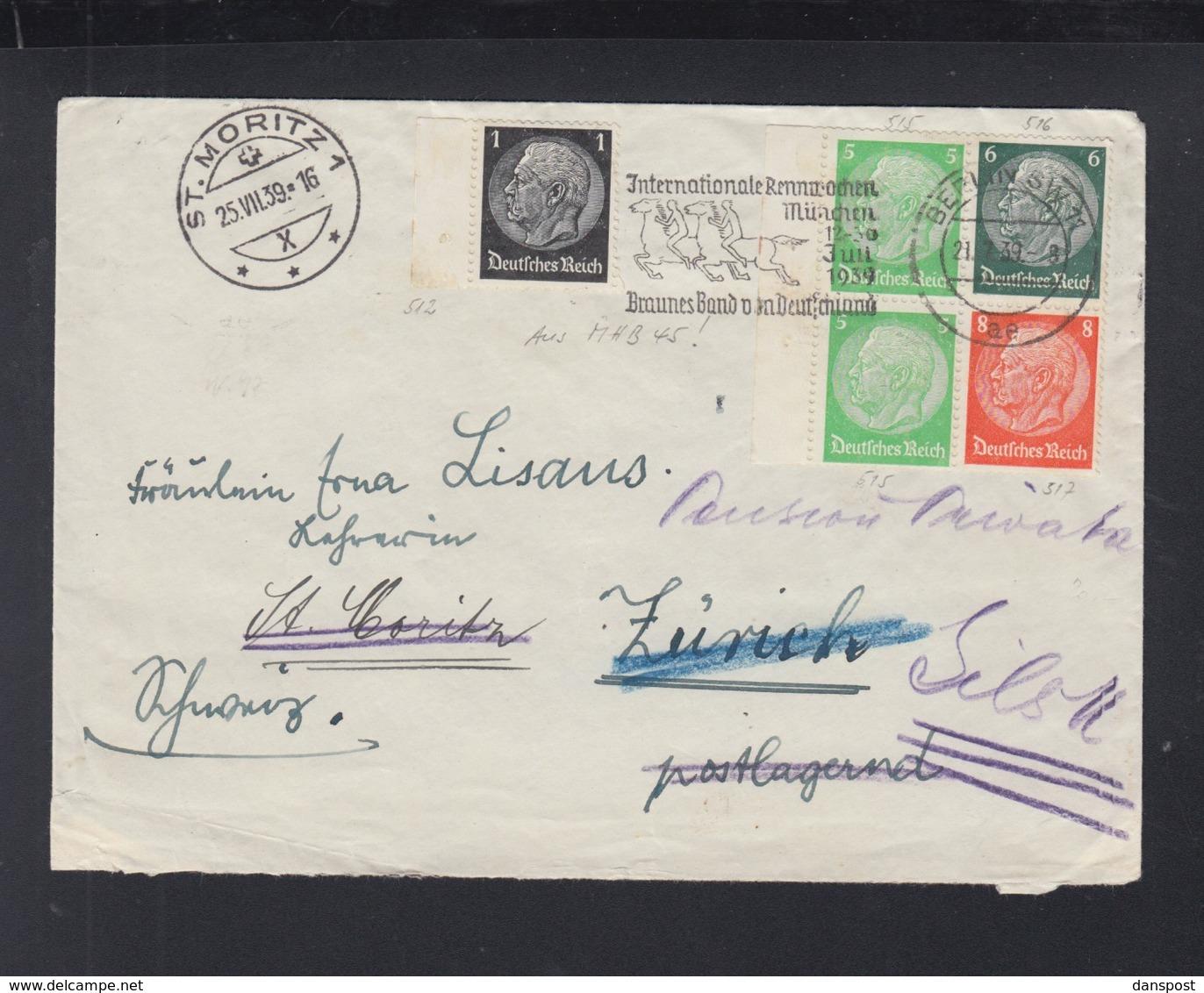 Dt. Reich ZD Auf Brief 1939 Berlin Nach St. Moritz - Germania