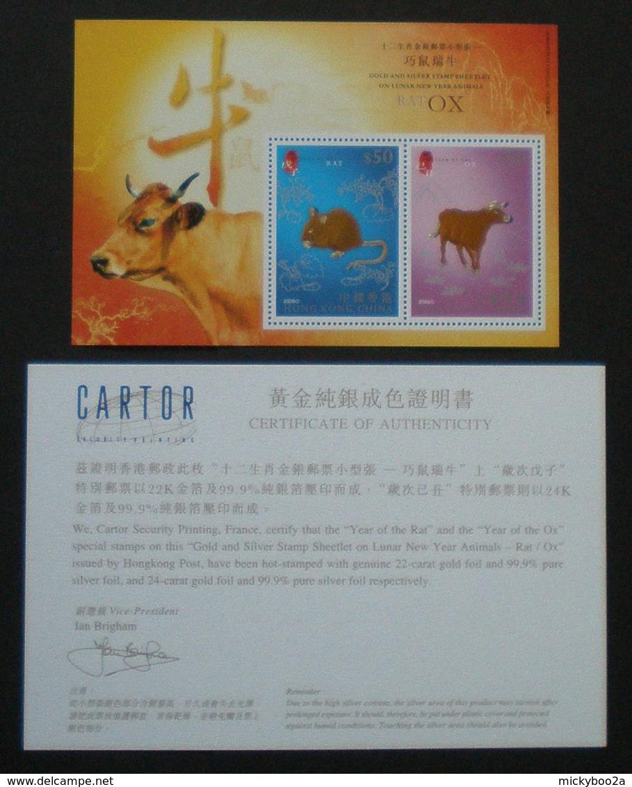 HONG KONG 2009 CHINESE NEW YEAR OX RAT GOLD COPPER M/SHEET MNH - 1997-... Chinese Admnistrative Region