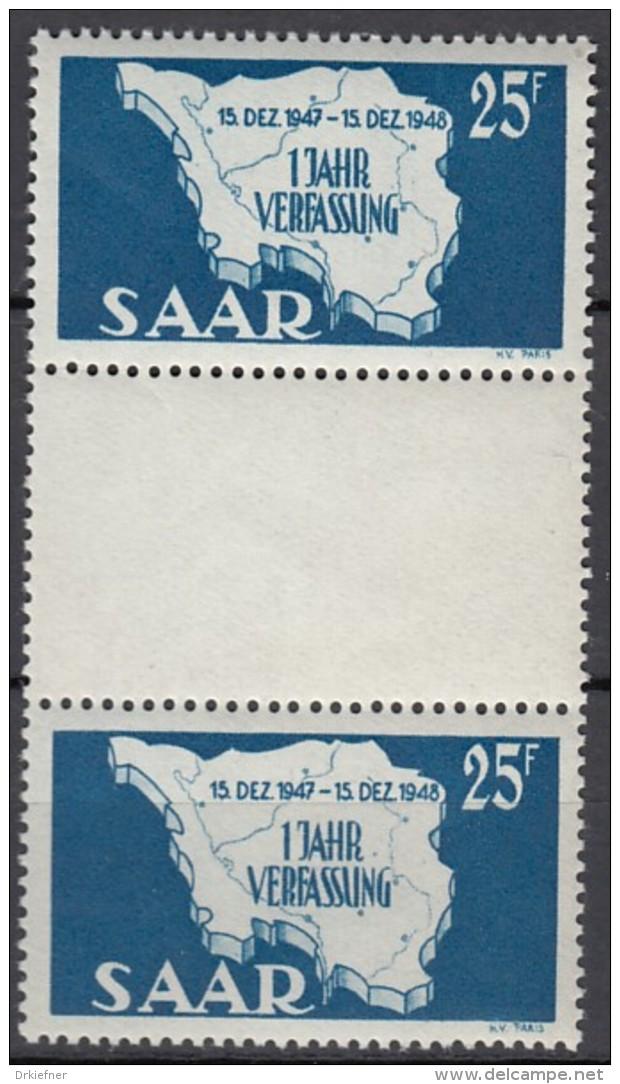 SAAR 261 ZS, Postfrisch **. Zwischenstegpaar, Verfassung 1948 - 1947-56 Occupation Alliée