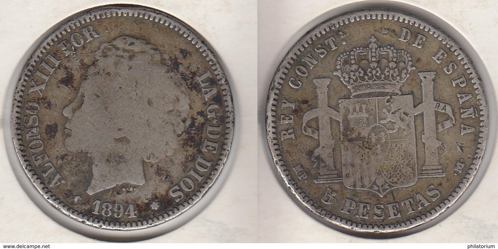 Espagne 5 Pesetas 1894  Spain   España - [ 1] …-1931 : Royaume
