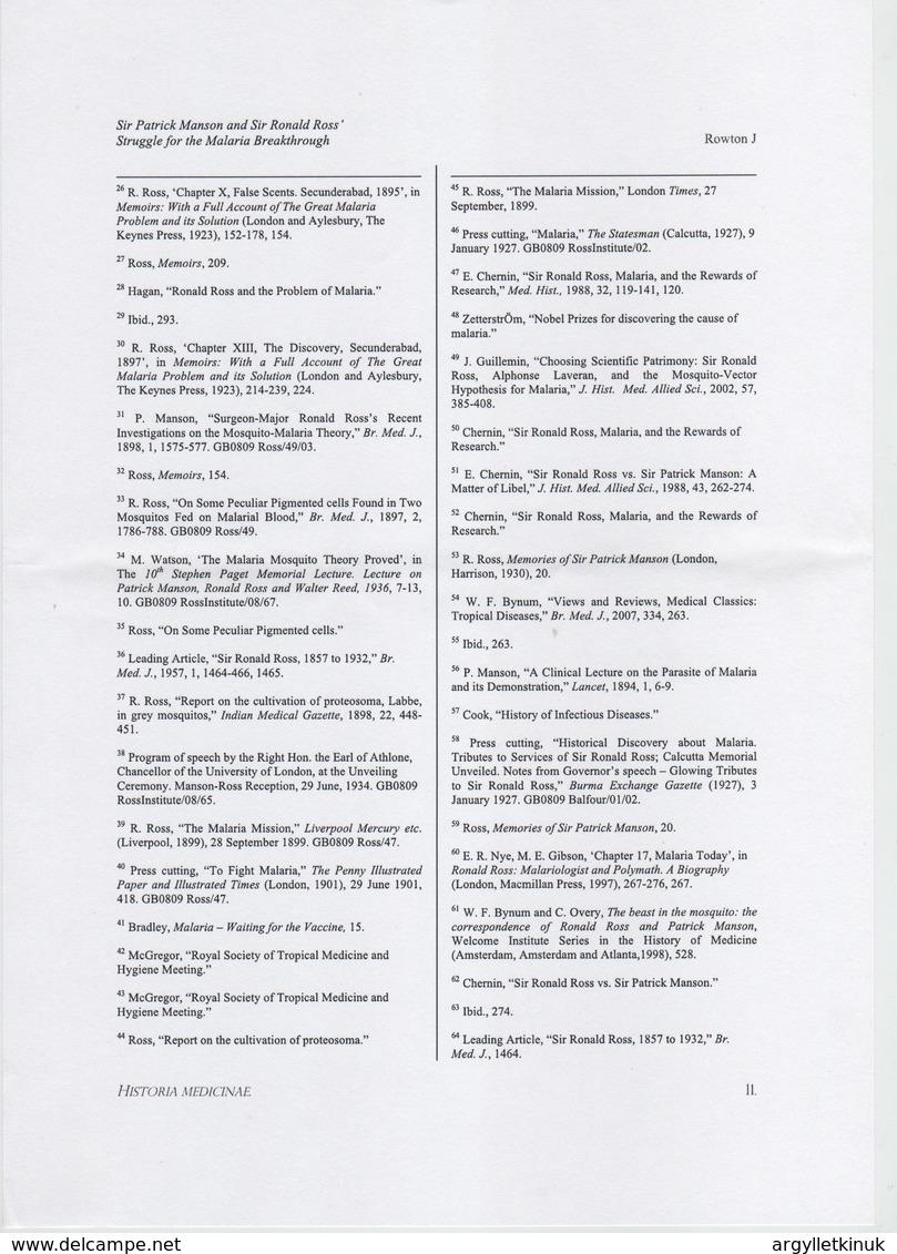 MALARIA SIR PATRICK MANSON SIR RONALD ROSS INST. UNI. LONDON NEPAL 1934 - Tickets - Vouchers