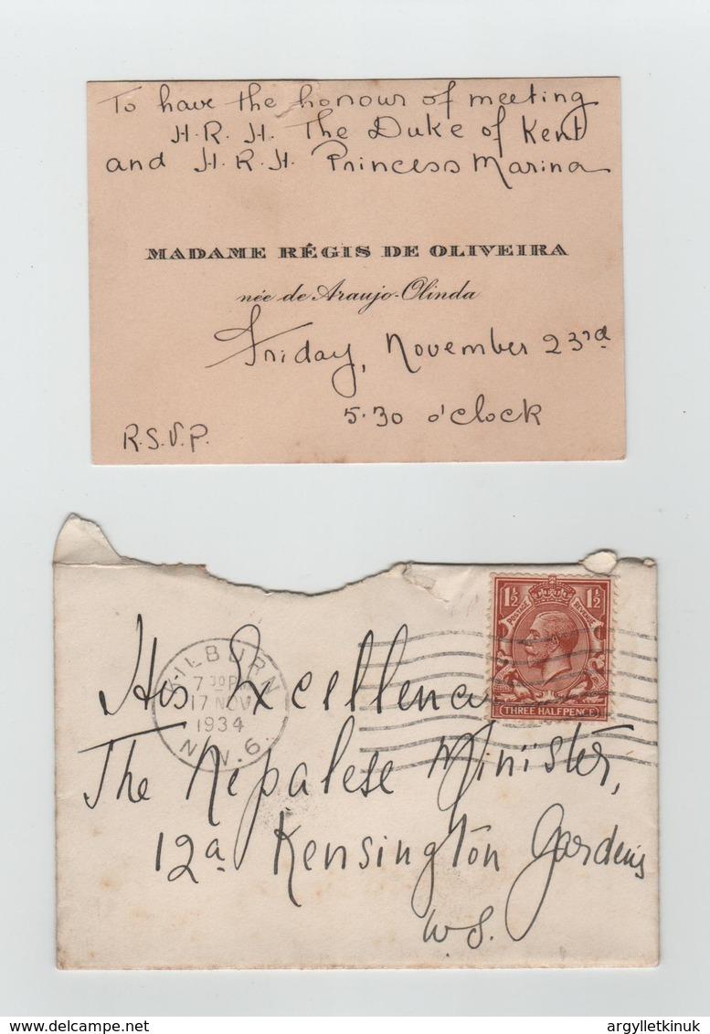 DUKE OF KENT PRINCESS MARINA BRAZILIAN EMBASSY 1934 NEPAL - Tickets - Vouchers