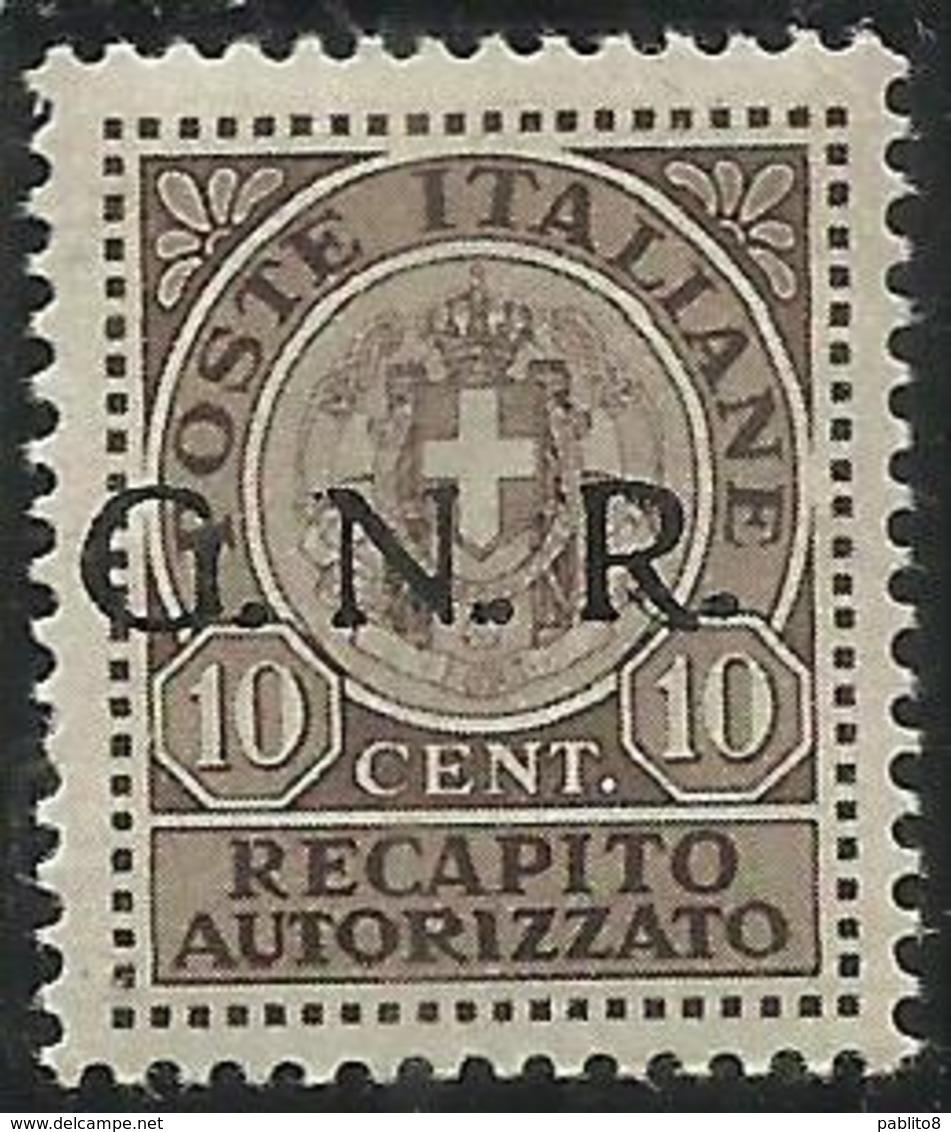 ITALIA REGNO ITALY 1944 SAGGI REPUBBLICA SOCIALE ITALIANA RSI RECAPITO AUTORIZZATO GNR NERO MNH SAGGIO PROVA FIRMATO - 4. 1944-45 Repubblica Sociale