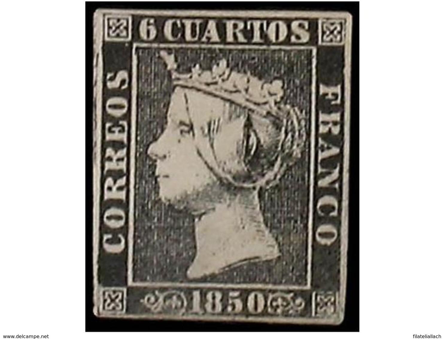 SPAIN: ISABEL II. 1850. 6 CUARTOS BLACK - Espagne