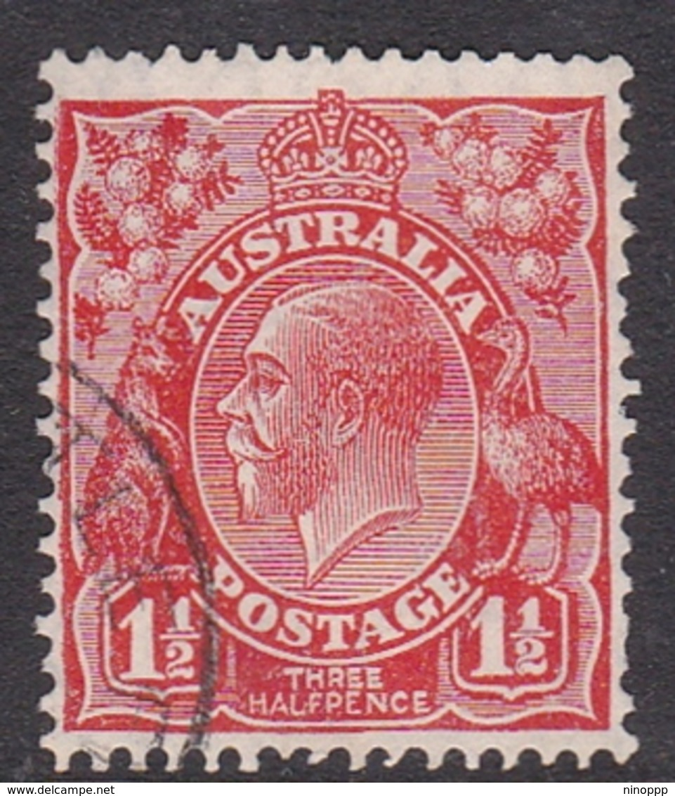 Australia SG 87a 1927 King George V,1d  And Half Golden Scarlet,Small Multiple Watermark Perf 14, Used - 1913-36 George V: Heads