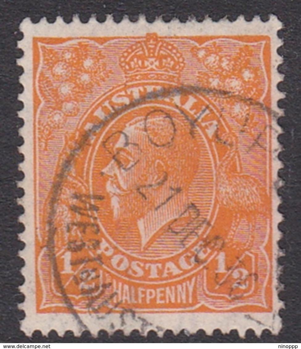 Australia SG 94 1928 King George V,half Penny Orange,Small Multiple Watermark Perf 13.5 X 12.5, Used - 1913-36 George V: Heads