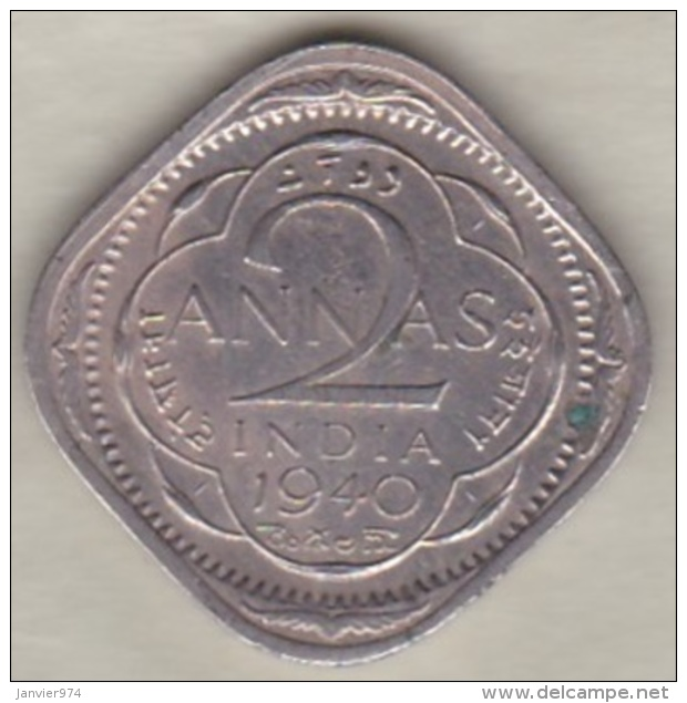 Inde  2 Annas 1940 Calcutta , George VI . Copper-Nickel. KM# 540 - Inde