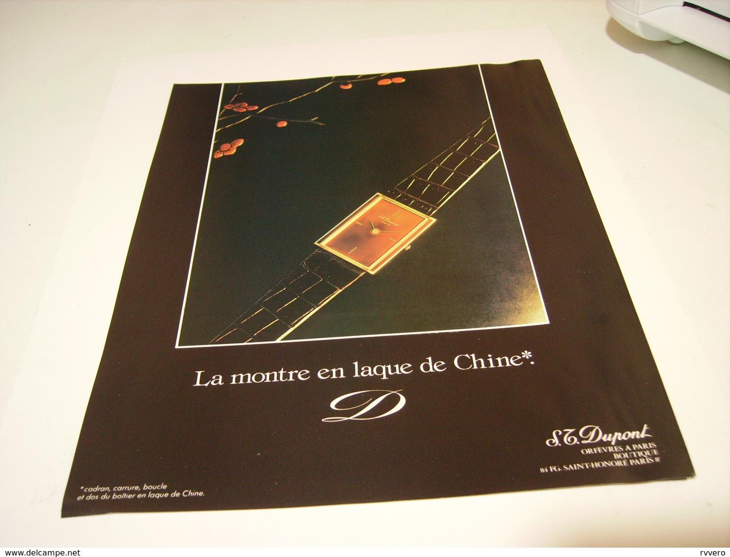 PUBLICITE AFFICHE MONTRE LAQUE DE CHINE   DE ST DUPONT 1982 - Autres