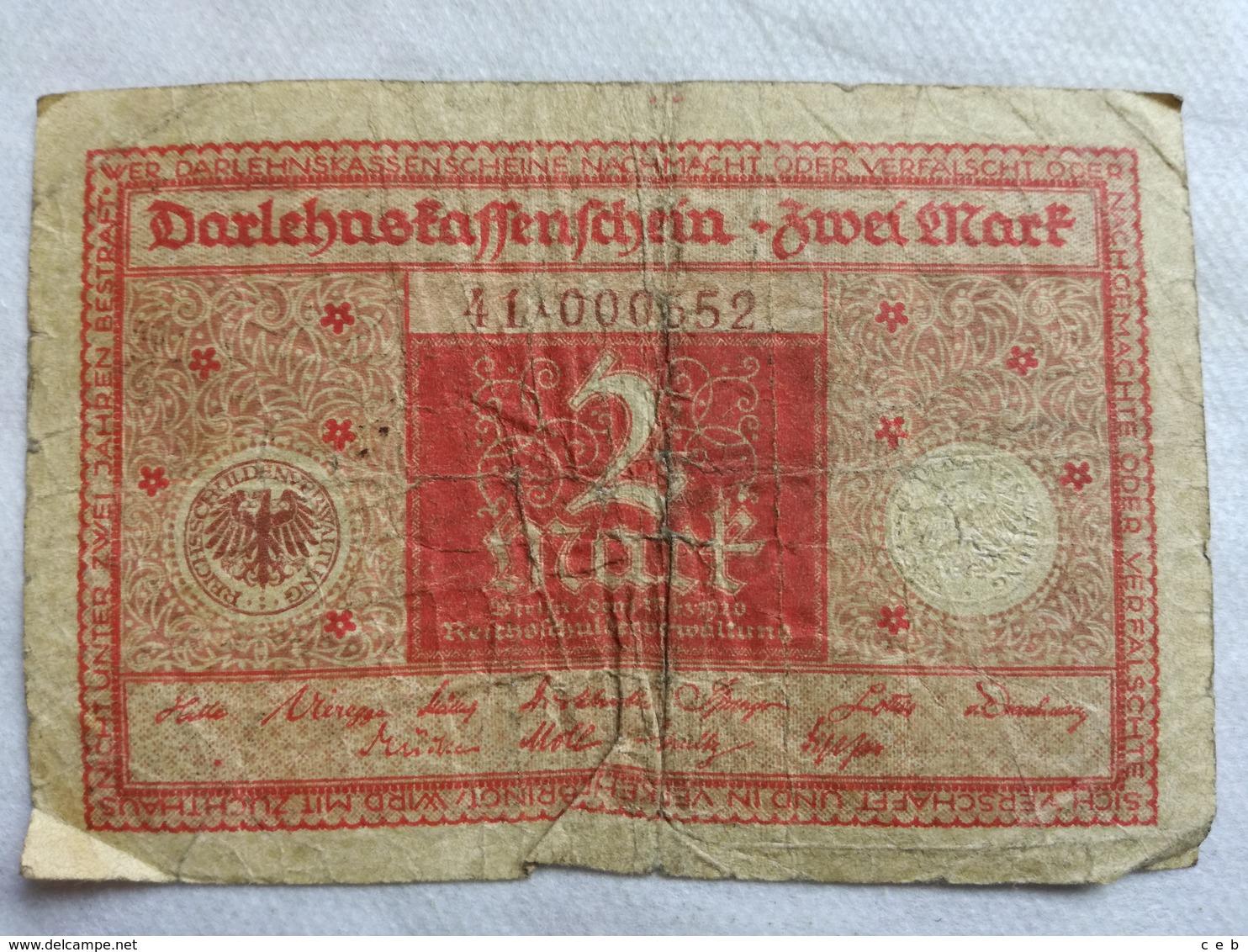 Billete Alemania. 2 Marcos. 1920. Rojo - [ 3] 1918-1933 : República De Weimar