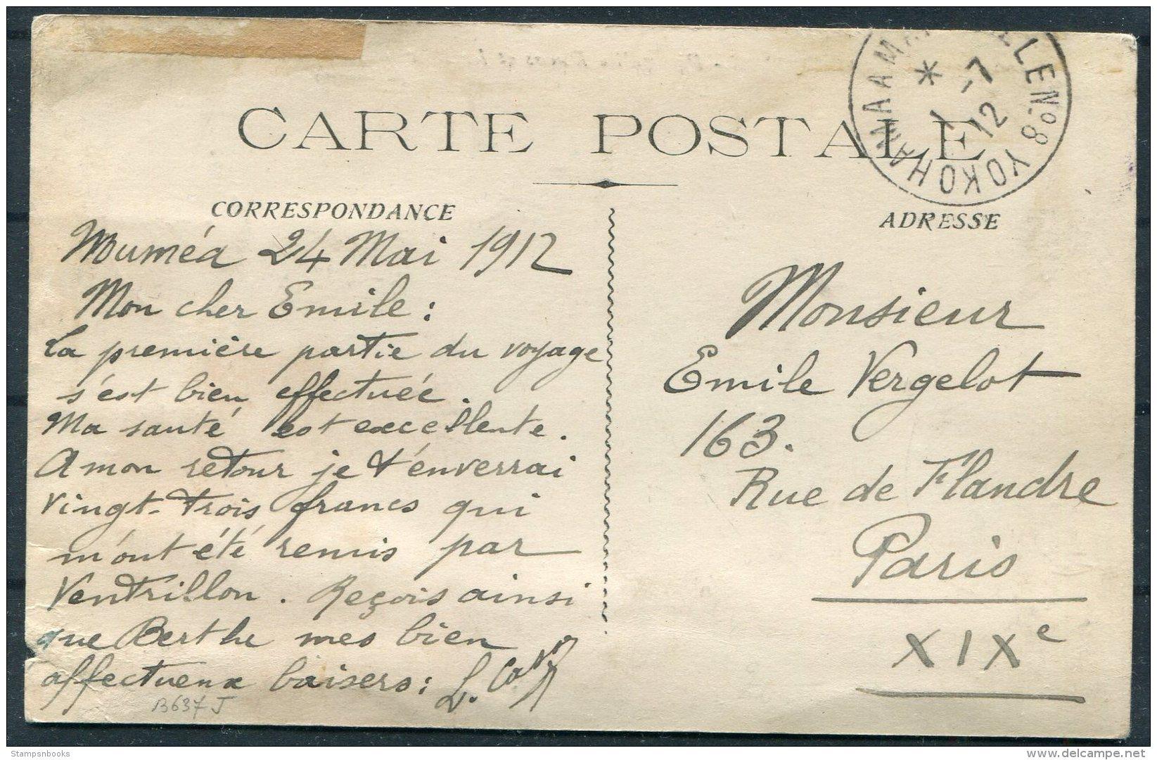 1912 New Caledonia Postcard, Yokohama Maseille Paquebot - Paris. Ship NERA - Nieuw-Caledonië