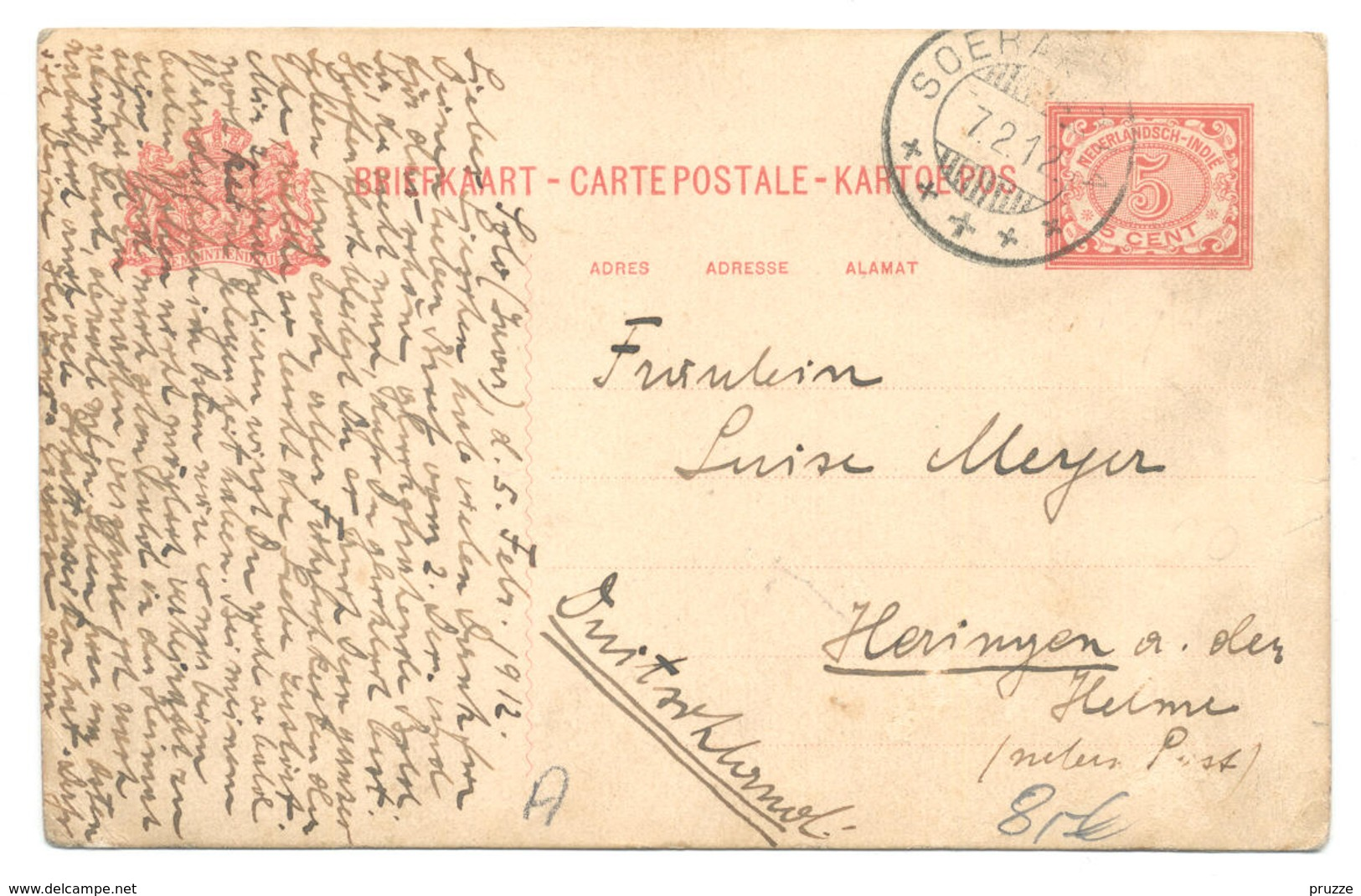 Solo, Surakarta, Soerakarta 1912, Java - Nach Heringen A. D. Helme Bei Nordhausen - Indonesien