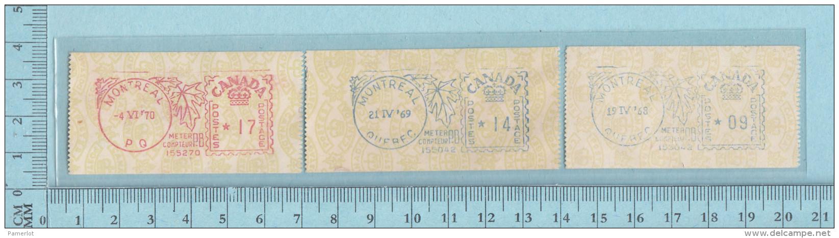Timbre Canada EMA, Sticker Meter Stamp, 9¢ 1968, 14¢ 1969, 17¢ 1970 Montreal Maple Leaf - 1952-.... Règne D'Elizabeth II