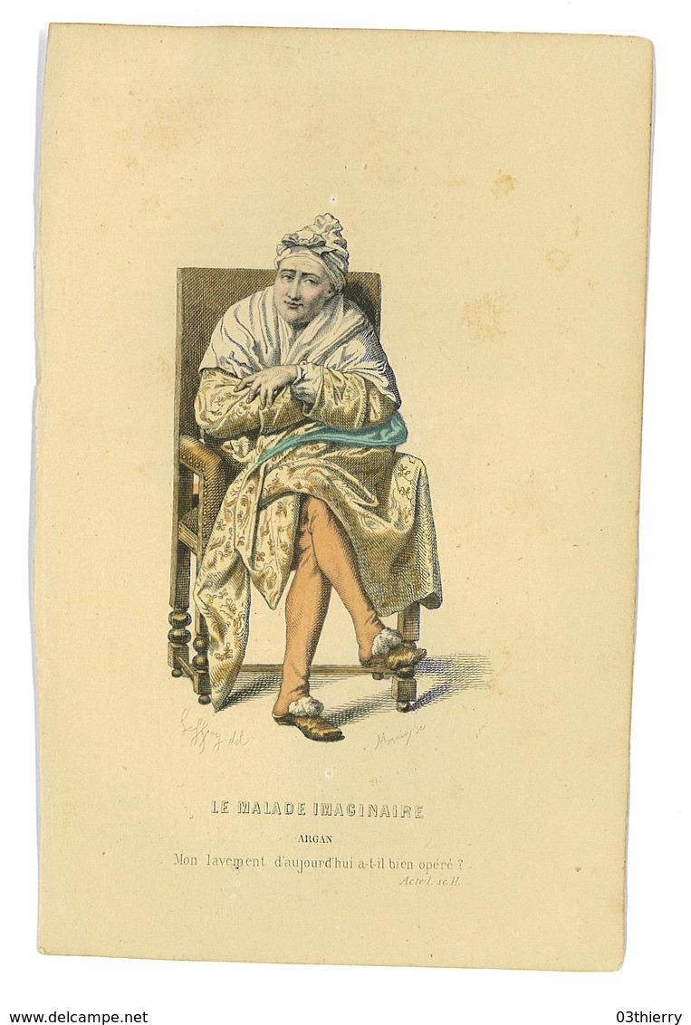 PETITE GRAVURE COULEUR ISSUE LIVRE LE MALADE IMAGINAIRE ARGAN - Prints & Engravings
