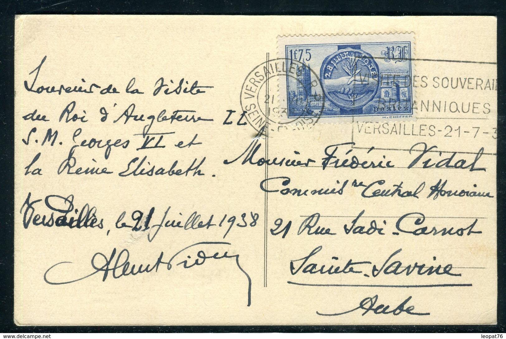 """France - Oblitération Versailles """" Visite Des Souverains Britanniques """" Sur Carte Postale En 1938  - Ref J48 - Postmark Collection (Covers)"""