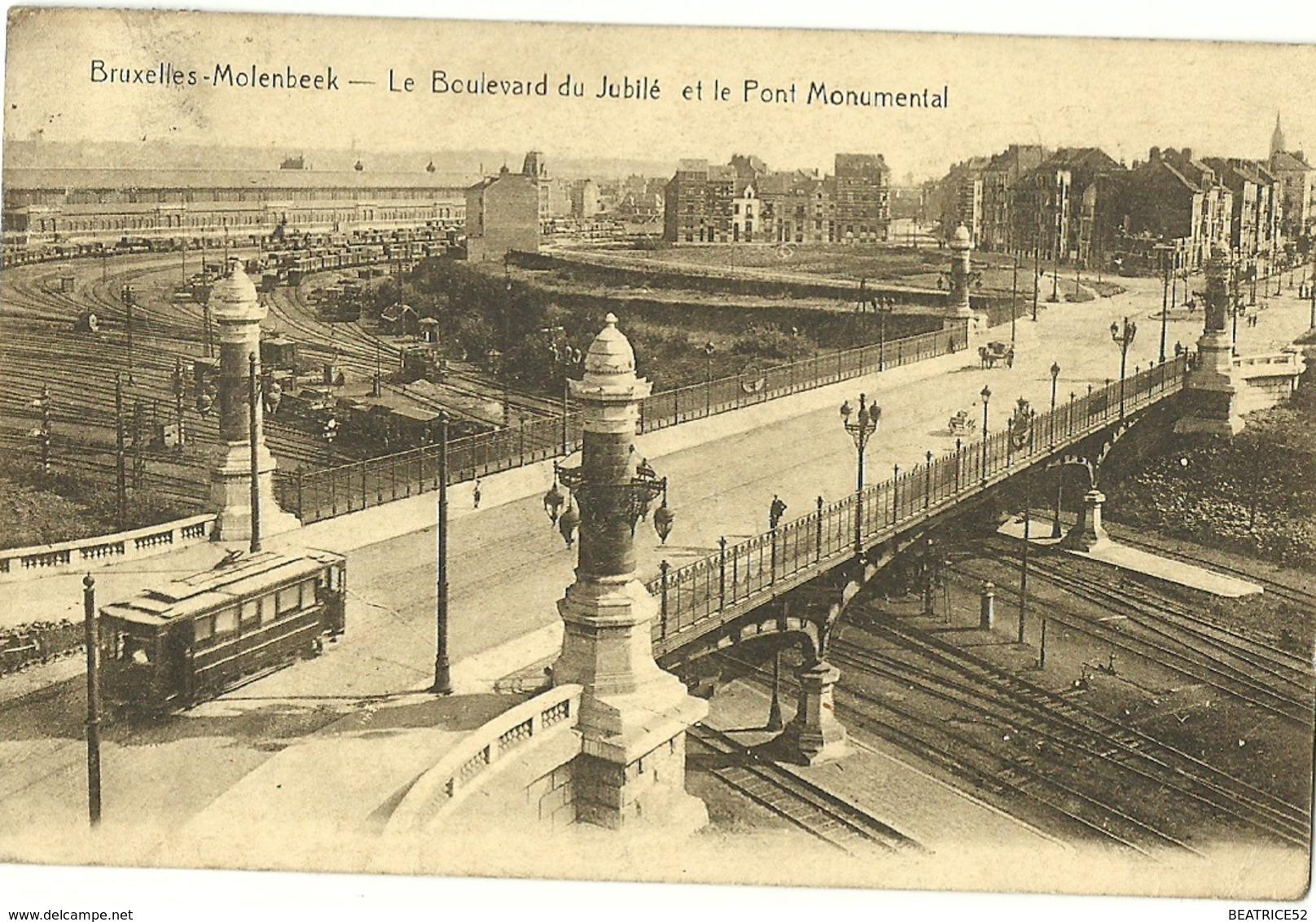BRUXELLES MOLENBEEK LE BOULEVARD DU JUBILE ET LE PONT MONUMENTAL + PASSAGE D UN TRAM TRAMWAY SUR LE PONT DE LA GARE - Molenbeek-St-Jean - St-Jans-Molenbeek