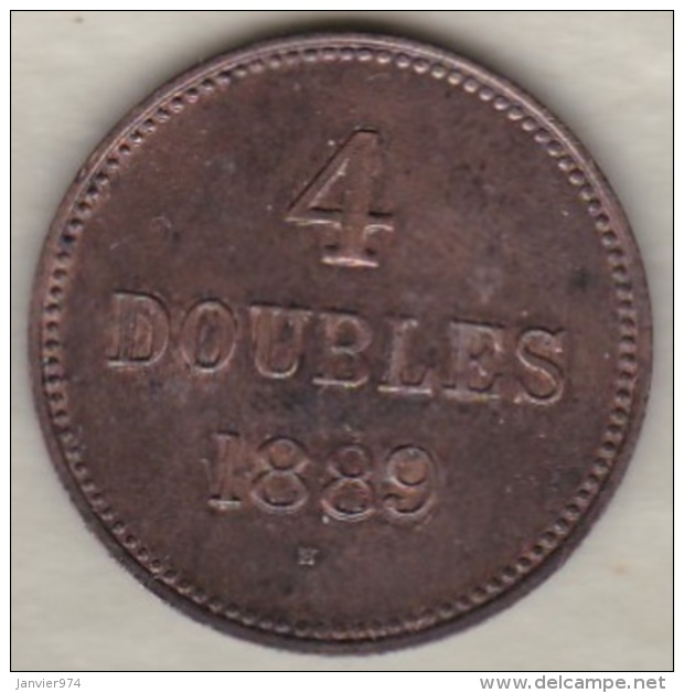 Guernesey 4 Doubles 1889 H  Bronze KM# 5 - Guernesey