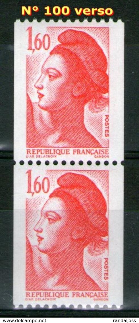 Paire 2192**-2192a**_N° 100 Au Verso - 1982-90 Vrijheid Van Gandon