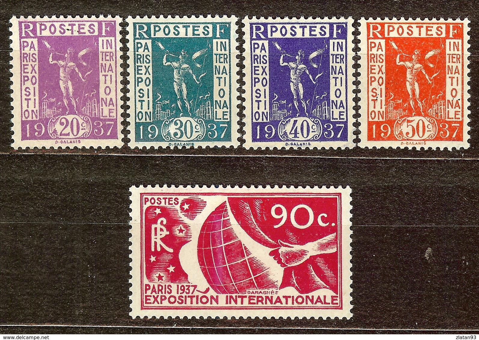 TIMBRE EXPO INTERNATIONALE PARIS 1937 YT N°322 à 326 NEUF Avec GOMME** / * - France