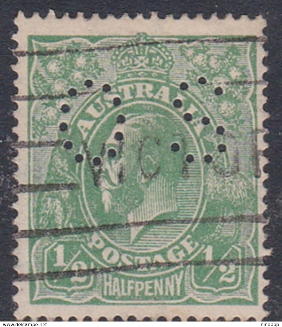 Australia SG O61 1918 King George V,half Penny Green,perforated Small OS, Used - Used Stamps