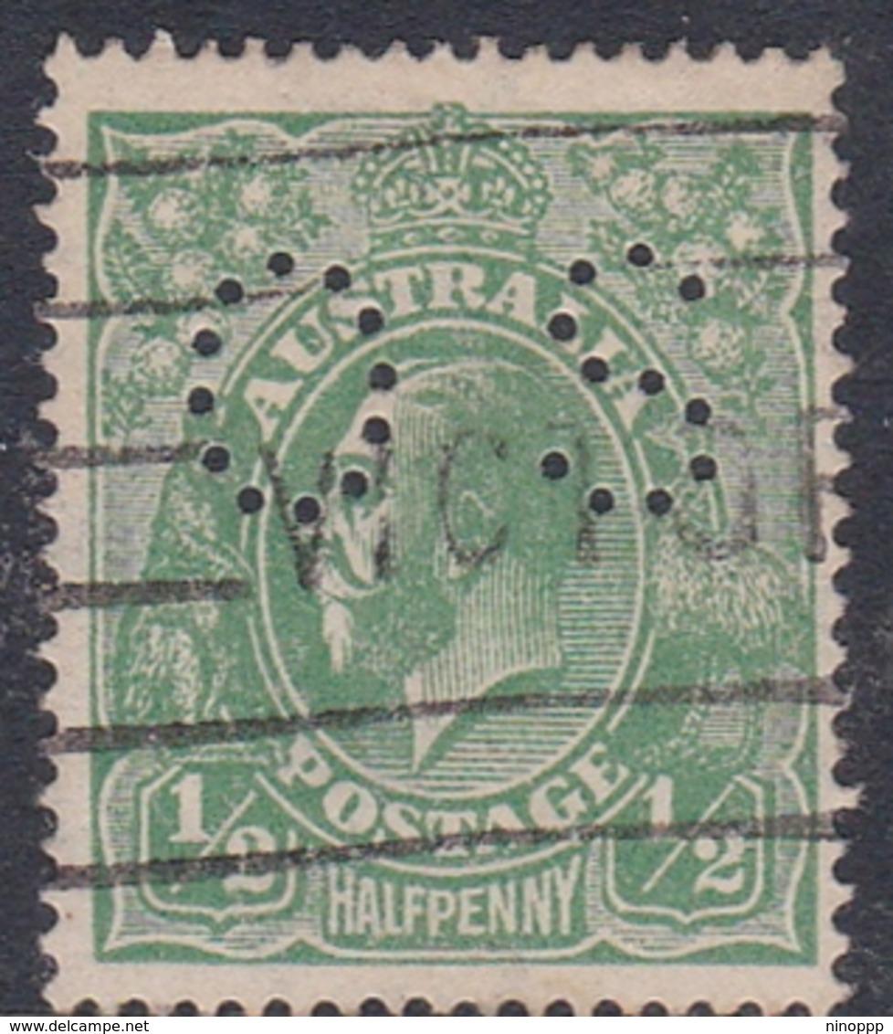 Australia SG O61 1918 King George V,half Penny Green,perforated Small OS, Used - 1913-36 George V: Heads