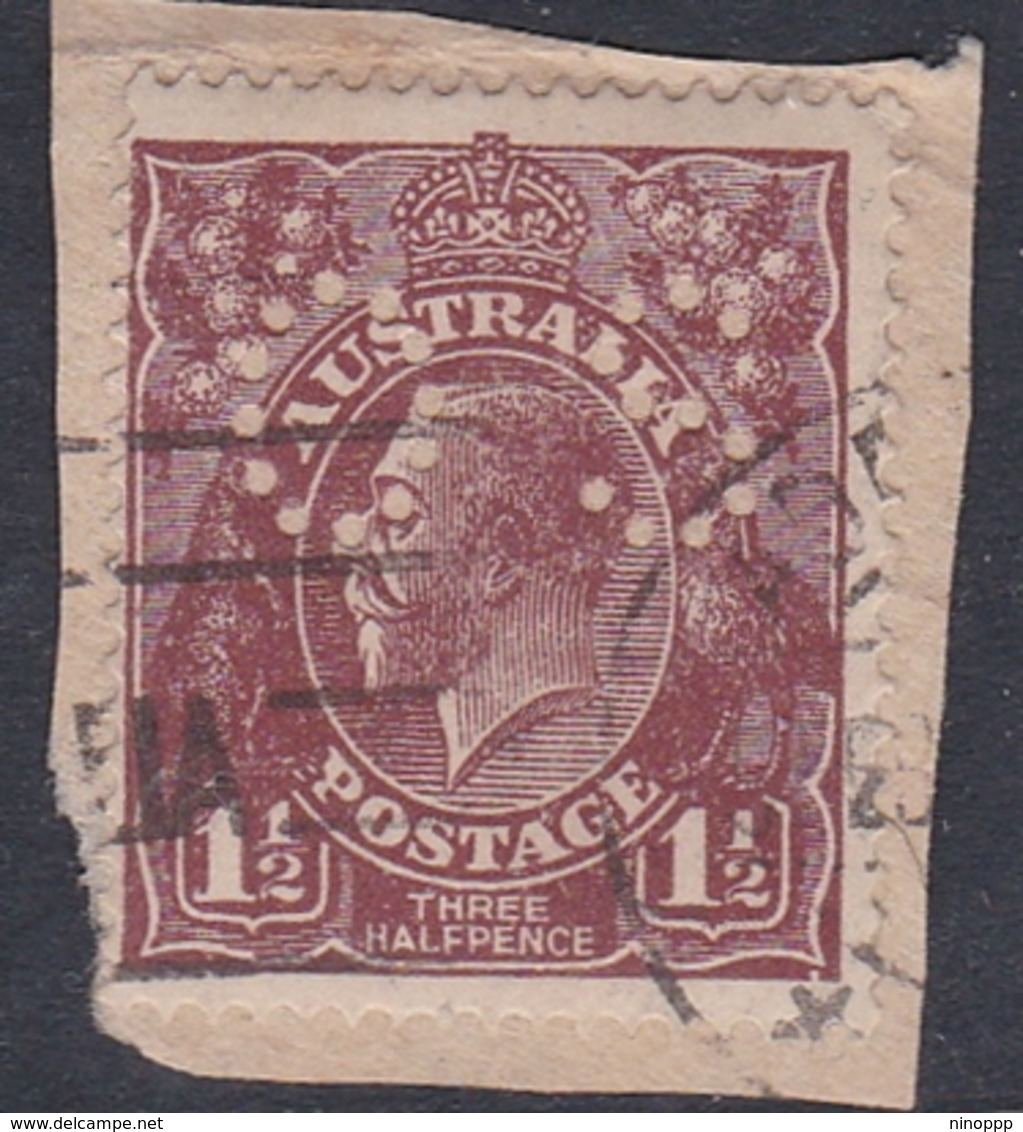 Australia SG O69 1918 King George V,three Half Penny Red Brown,perforated Small OS, Used - 1913-36 George V: Heads