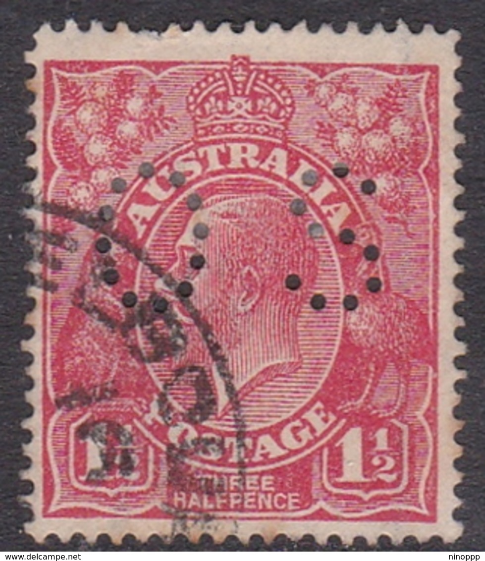 Australia SG O80 1924 King George V,three Half Penny Scarlet,perforated Small OS, Used - 1913-36 George V: Heads