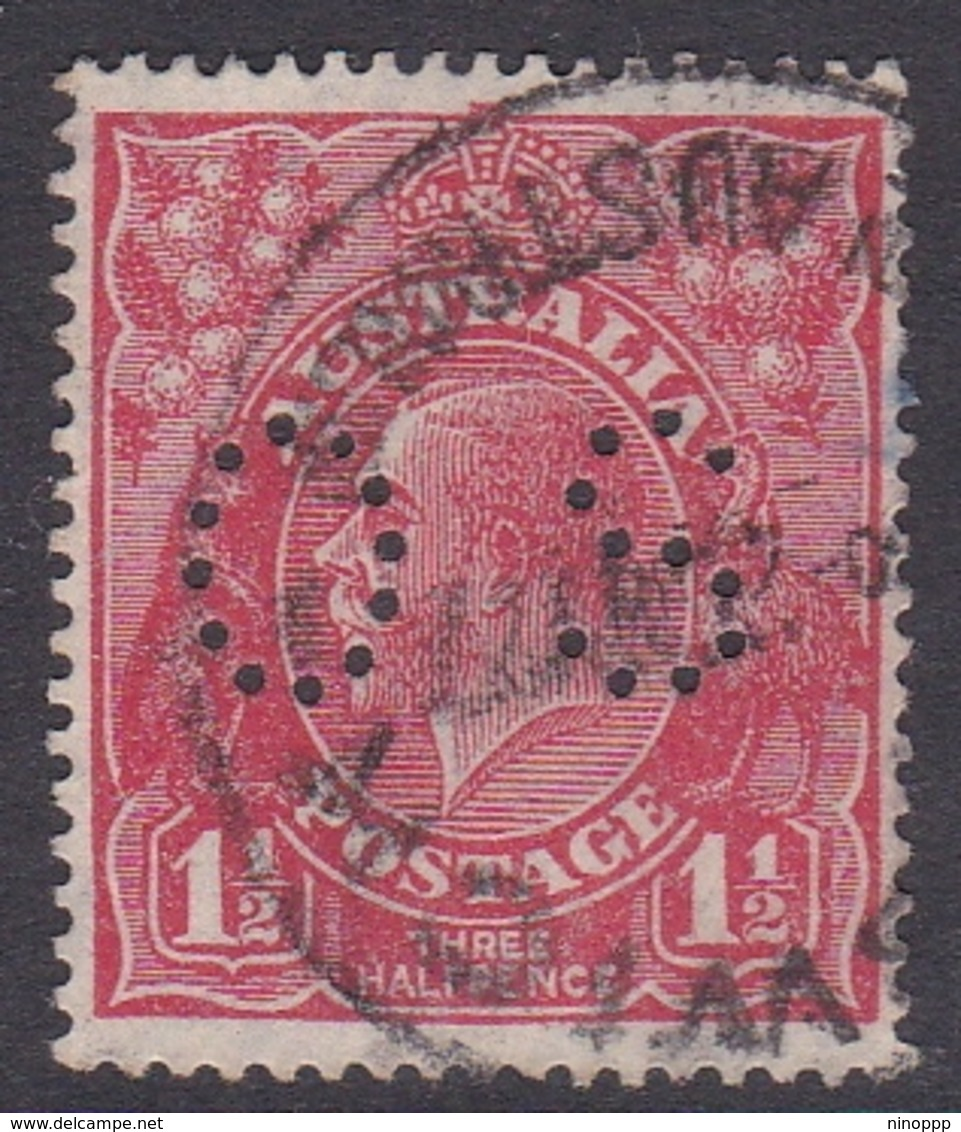 Australia SG O90 1924 King George V,three Half Penny Scarlet Perf 14,perforated Small OS, Used - 1913-36 George V: Heads