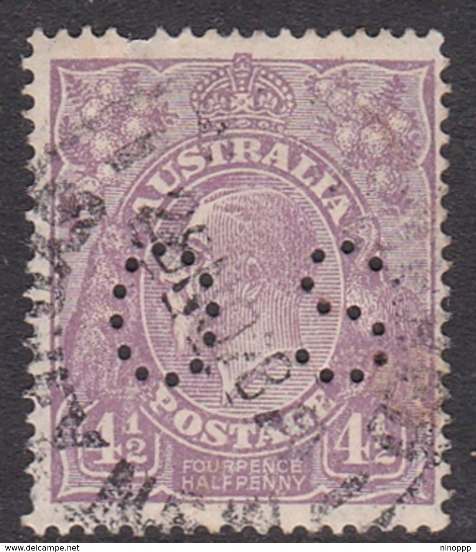 Australia SG O95 1926 King George V,4 And Half Penny,Small Multiple Watermark Perf 14 Perforated OS,thin, Used - 1913-36 George V: Heads