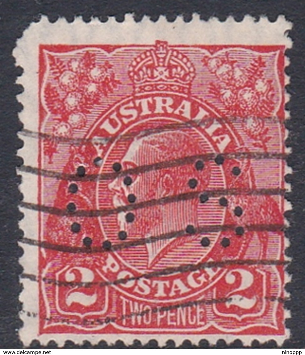 Australia SG O104 1924 King George V,2d Red Perf 13.5.12.5,perforated Small OS, Used - 1913-36 George V: Heads