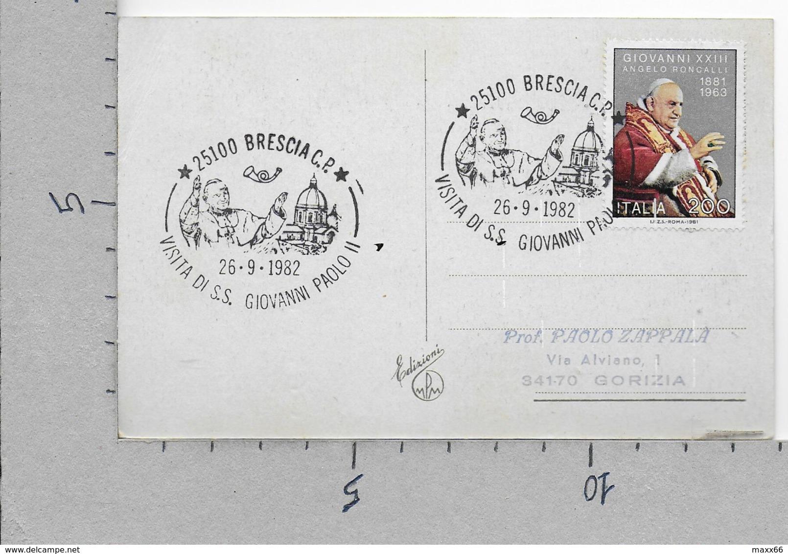 CARTOLINA VG ITALIA - BUON NATALE - MPM Edizioni - 9 X 14 - 1982 BRESCIA VISITA S.S. GIOVANNI PAOLO II - GIOVANNI XXIII - Altri