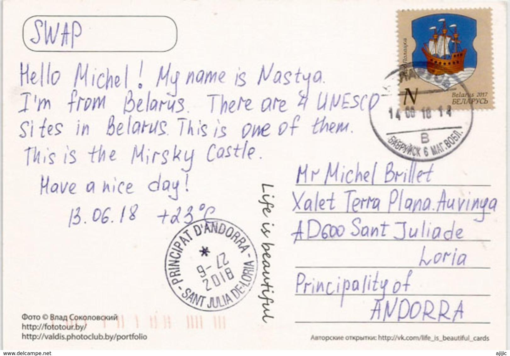 Mir Castle, UNESCO World Heritage Site In Belarus, Postcard Sent To Andorra, With Arrival Postmark - Belarus