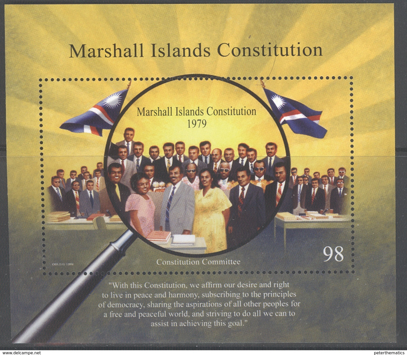MARSHALL ISLANDS , 2016, MNH, CONSITUTION, FLAGS,  S/SHEET - Stamps