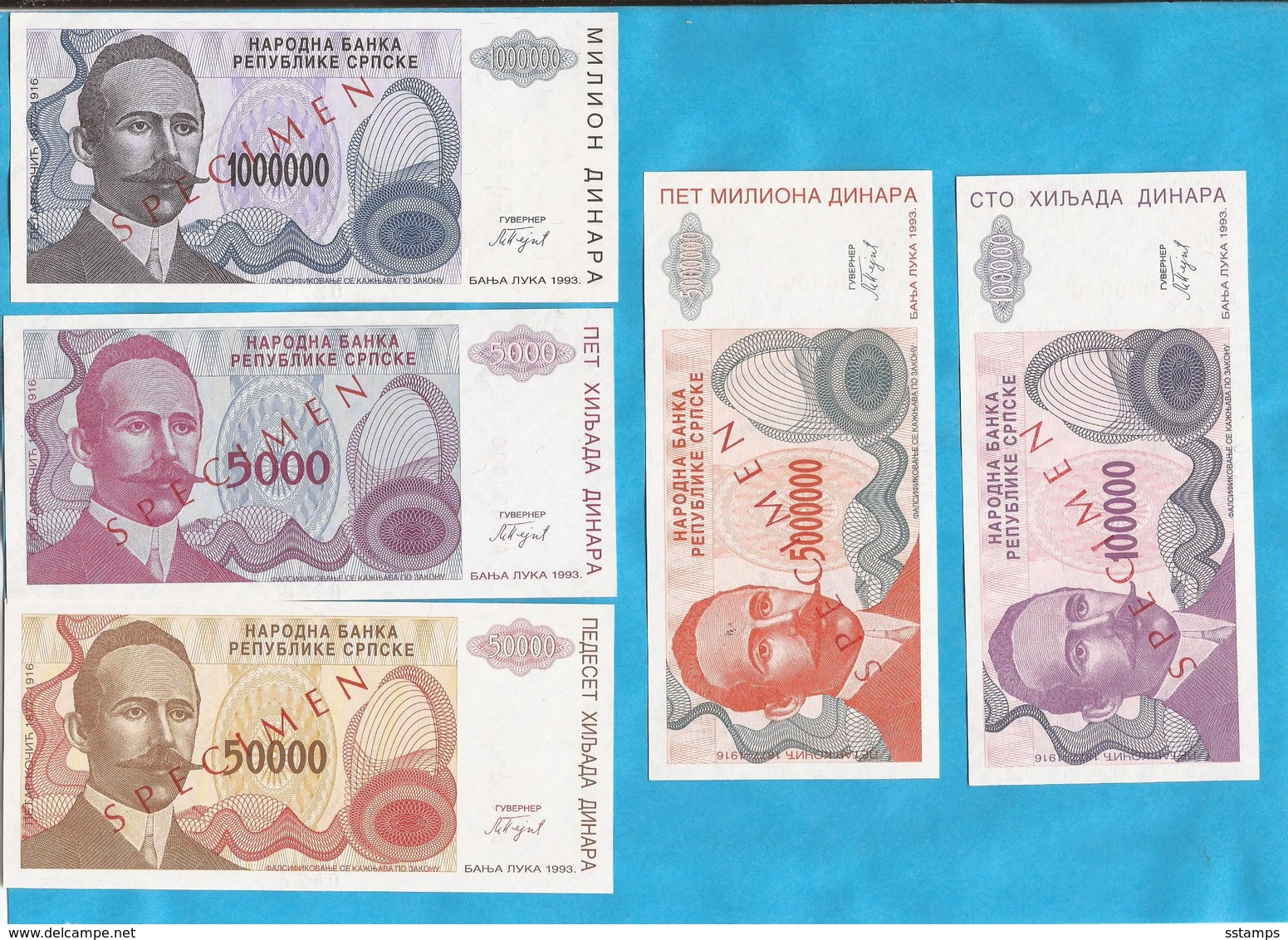 1993  SPECIMEN  5  STUECK  PETAR KOCIC   RRR   SEHR SELTEN  BOSNIA REPUBLIKA SRPSKA BANJA LUKA LUX - Bosnië En Herzegovina