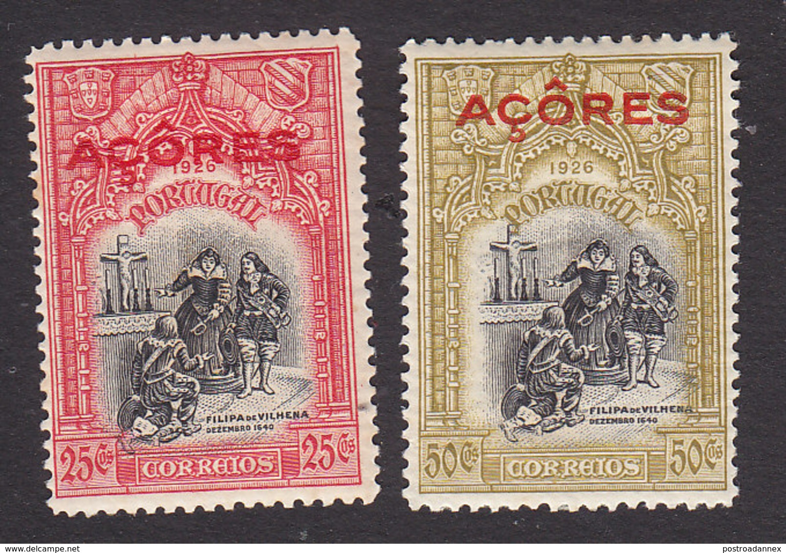Azores, Scott #265, 268, Mint Hinged, First Independence Overprinted, Issued 1926 - Azoren