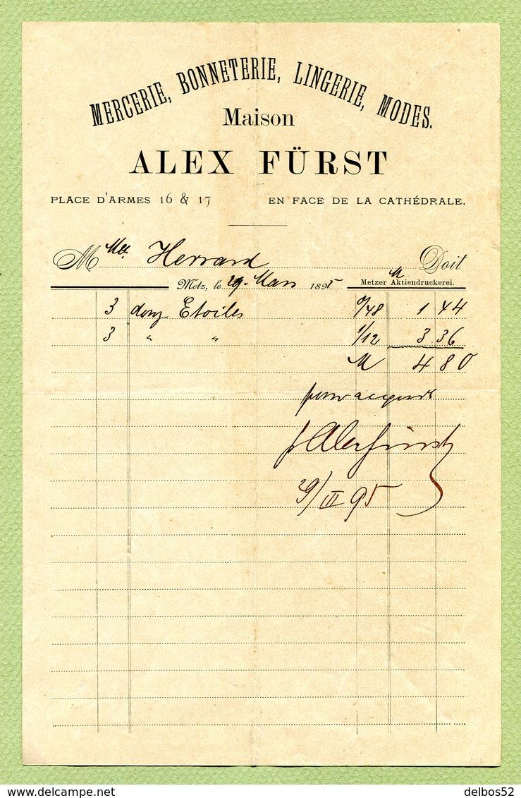 """METZ  1895 : """" MERCERIE BONNETERIE : ALEX FÜRST, Place D'Armes 16 & 17 """" - 1800 – 1899"""