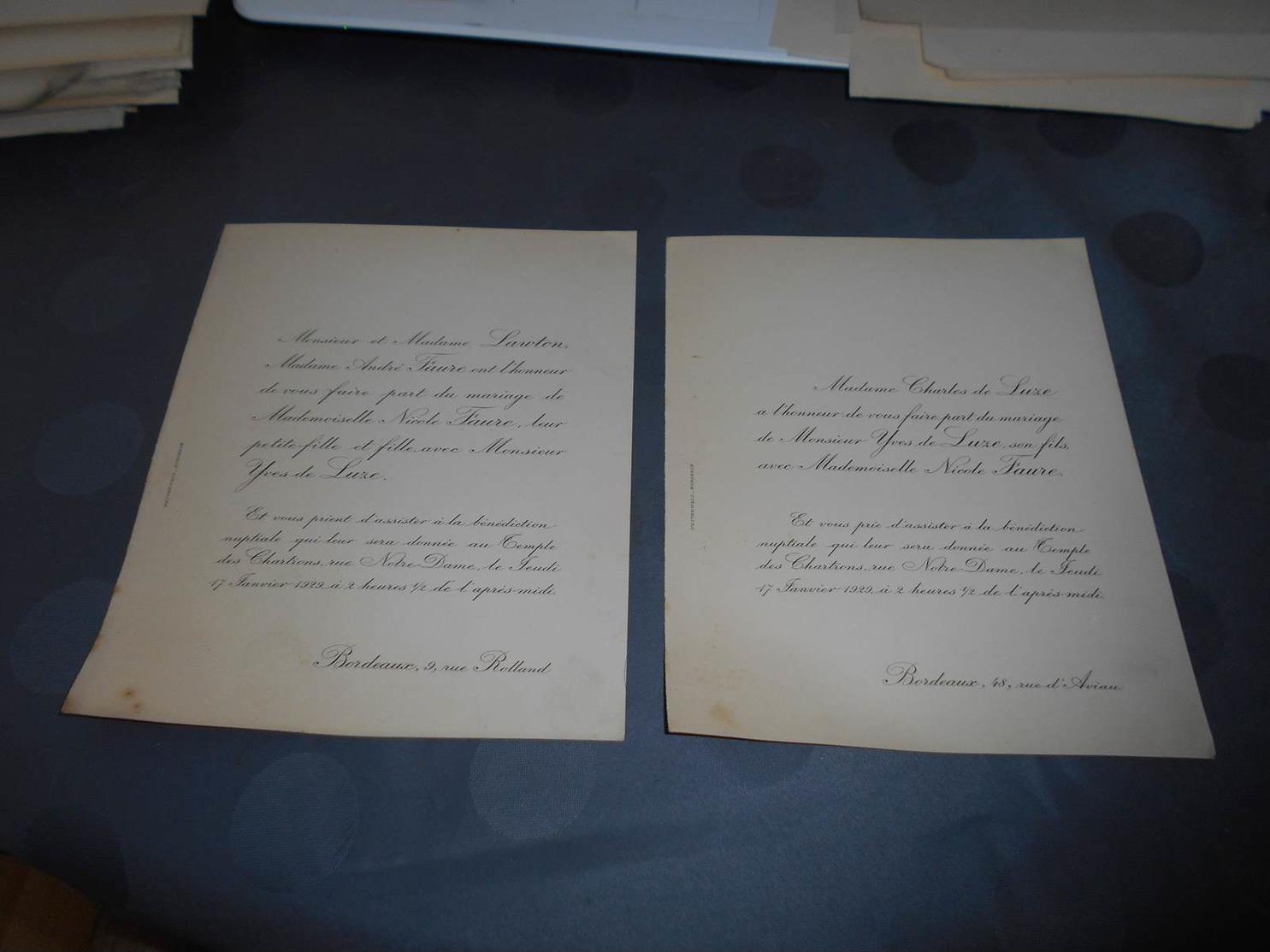 182 - Faire-Part De Mariage, Monsieur Yves DE LUZE Avec Mlle. Nicole FAURE, Le 17 Janvier 1929 à Bordeaux - Mariage