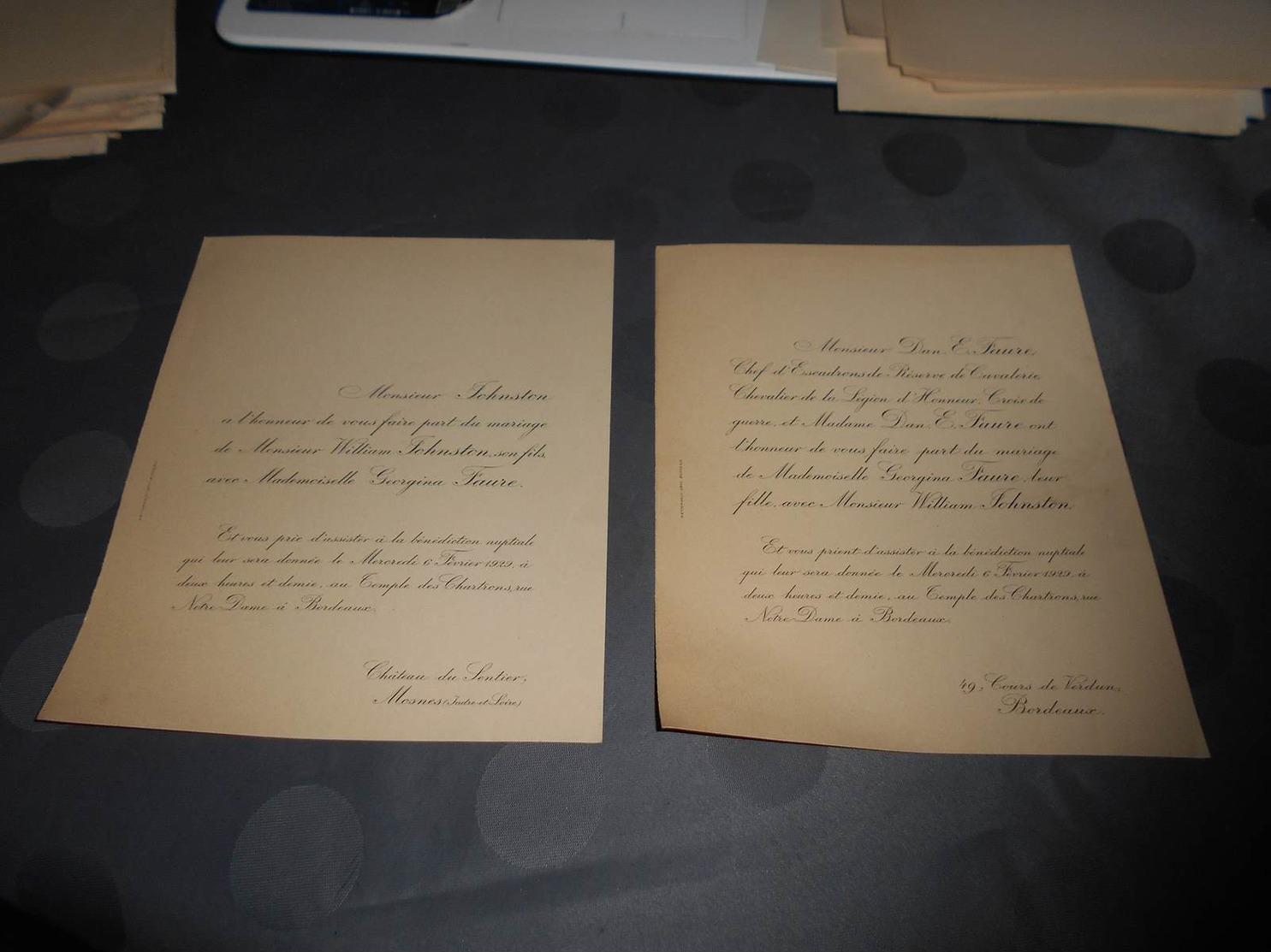 183 - Faire-Part De Mariage, Monsieur William JOHNSTON Avec Georgina FAURE, Le 6 Février 1929 à Bordeaux - Mariage