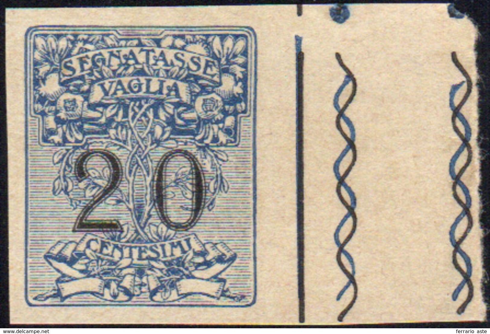 1322 1924 - 20 Cent. Segnatasse Vaglia (1), Prova Di Macchina Non Dentellata Su Carta Grigiastra, Bordo D... - Unclassified