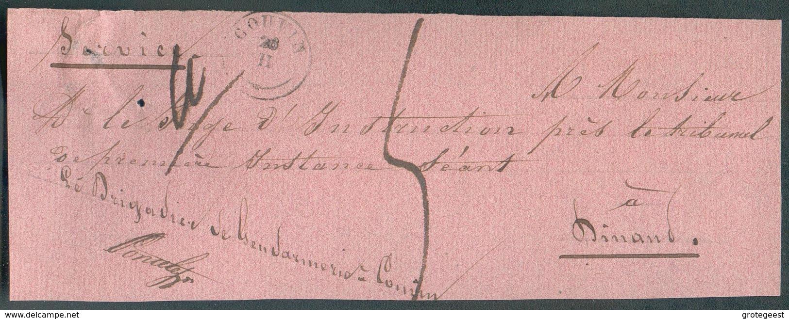 Devant De BANDE D'IMPRIME En Service (le Brigadier De Gendarmerie De Couvin) ; Càd Type 18 COUVIN 20-II Vers Dinant, Tax - 1830-1849 (Belgique Indépendante)