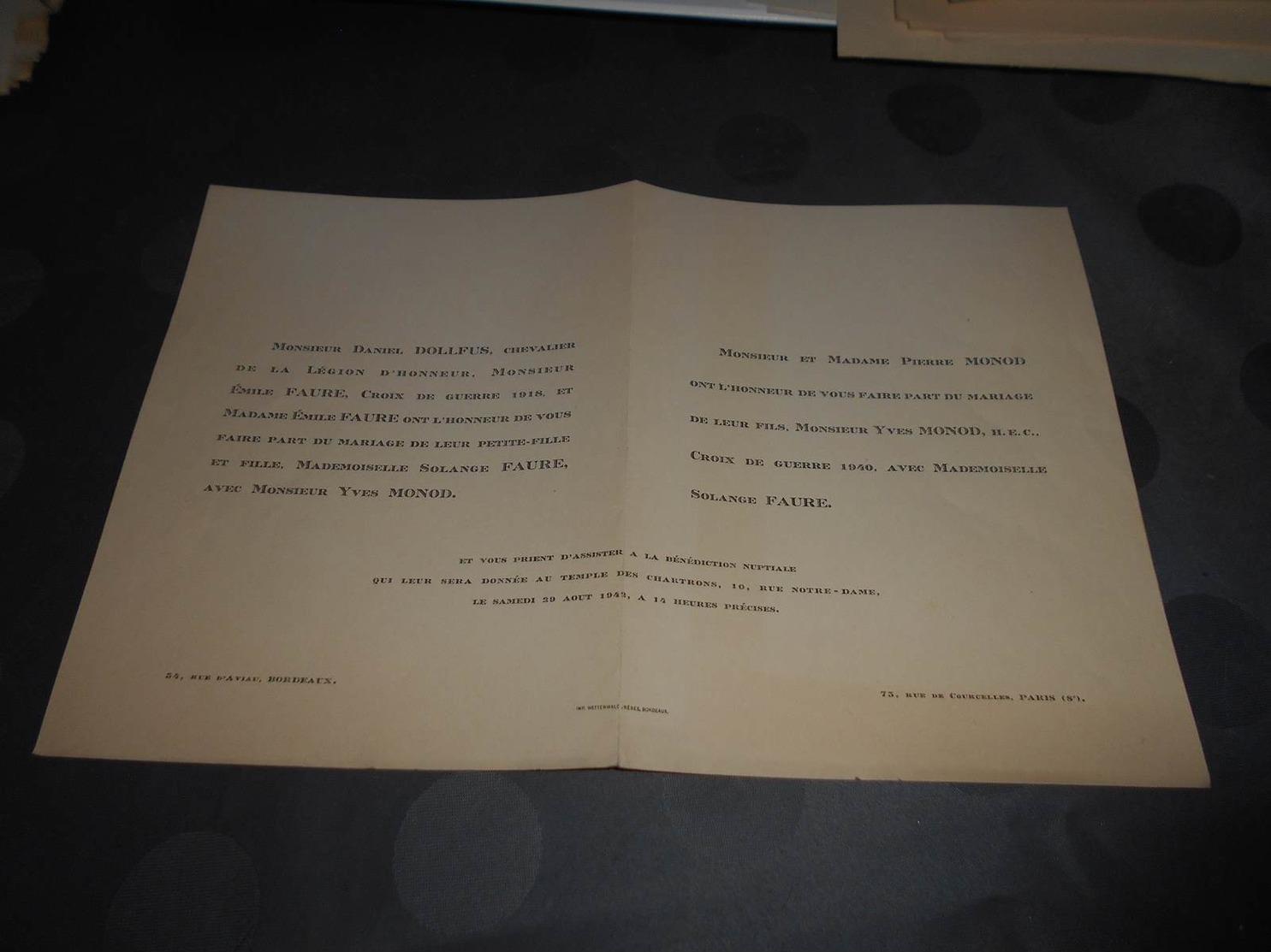 220 - Faire-Part De Mariage ,Monsieur Yves MONOD Avec Mlle.Solange FAURE, Le 29 Août 1942 à Bordeaux - Mariage